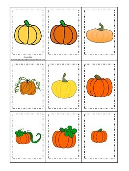 Pumpkin themed Memory Matching preschool learning activity