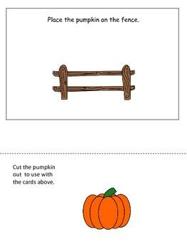 Pumpkin themed Positional Cards preschool learning activit