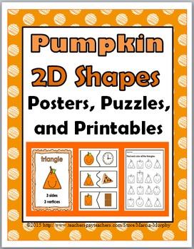 2D Shape Posters, Puzzles & 15 Printables - Pumpkin Math -