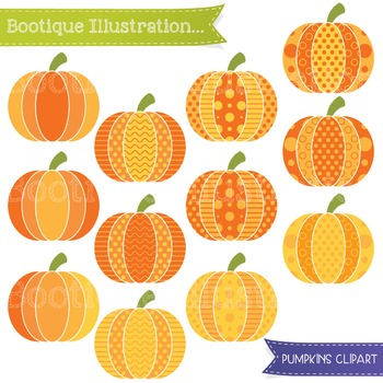 Pumpkins Clip Art. Patterned  Pumpkins Clip Art. Halloween