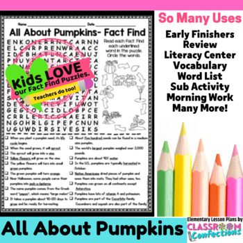 Pumpkins: All About Pumpkins Reading and Word Search Activity