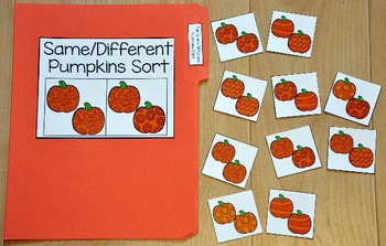 "Pumpkins File Folder Game: ""Same and Different Pumpkins Sort"""