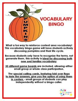 Pumpkins Vocabulary Bingo