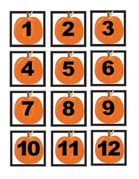 Pumpkins and Leaves Calendar Cover Set 1-31 Plus