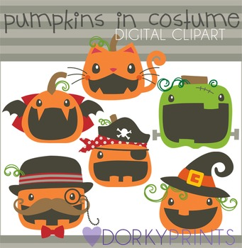 Pumpkins in Costume Halloween Clip Art