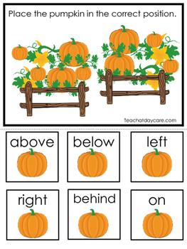 Pumpkins themed Positional Game.  Printable Preschool Curr