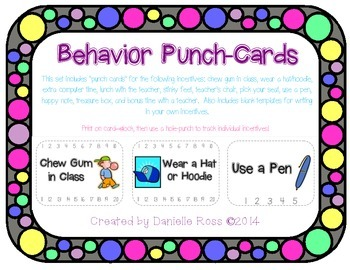 Punch Cards For Behavior