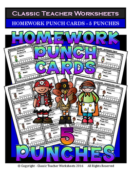 Punch Cards - Homework Punch Cards (Year-Round) - 5 Punches