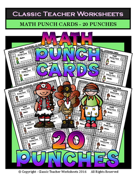 Punch Cards - Math Punch Cards (Year-Round) - 20 Punches