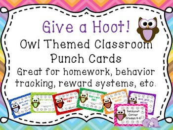 Punch Cards - Owl and Bright Chevron Theme - Classroom Decor