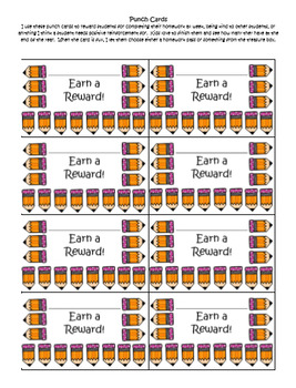 Punch Cards ~ Used for Incentives