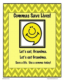 "Punctuation ""Commas Save Lives"" Poster"