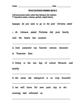 Punctuation Marks Quiz 2