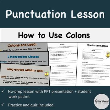Punctuation Mini Unit: Colons (PowerPoint + packet w/ prac