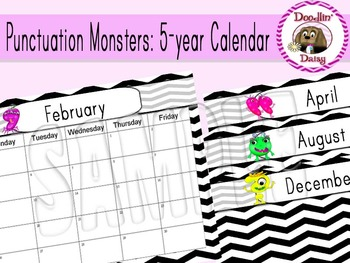 Punctuation Monsters 5-year Calendar: Aug 2014- July 2019