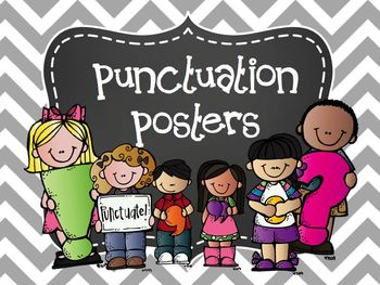 Punctuation Posters Chevron & Chalkboard