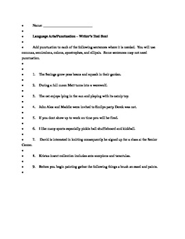 Punctuation Worksheet Practice