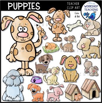 Puppies Clip Art Bundle (60 files) Whimsy Workshop Teaching