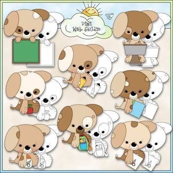 Puppies Go To School Clip Art - School Supplies Clip Art -