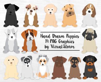 Cute Puppy Clip Art -12 Hand Drawn Puppies - Popular Dog B