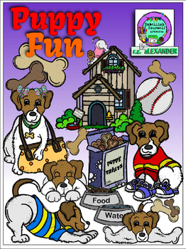 Puppy Fun Clipart  (15 FREE Elements Included!)