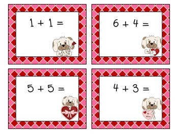 Puppy Love Valentine Addition Task Cards