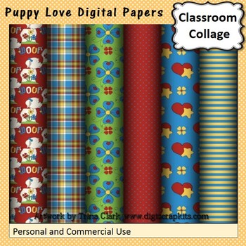Puppy Love Digital Papers Set  personal & commercial use