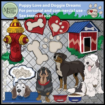 Puppy Love and Doggie Dreams Clip Art Set {Messare Clips a