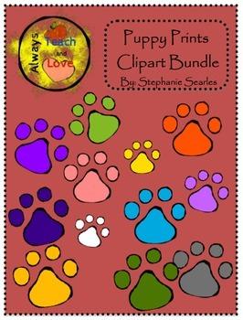 Puppy Paw Prints Clipart Bundle