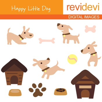 Puppy clipart - Happy Little Dog clip art