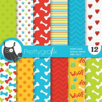 Puppy dog digital paper, commercial use, scrapbook papers - PS704