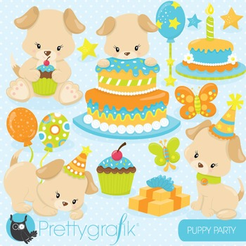 Puppy party clipart commercial use, vector graphics, digit