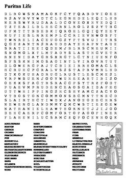Puritan Life Word Search