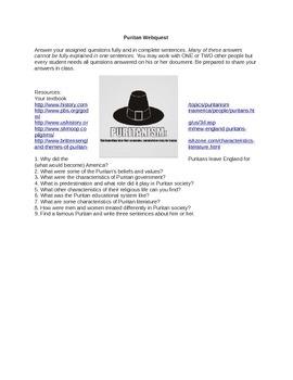 Puritan Webquest