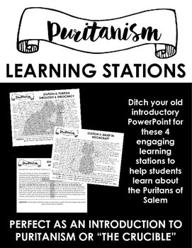 Puritanism Learning Stations -- Perfect as an intro to The