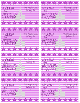 Purple Article of Faith Punch Cards