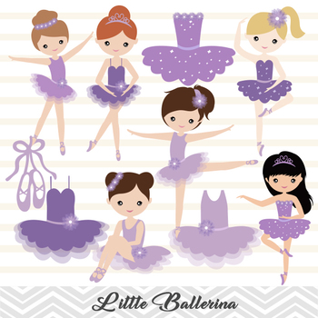 Purple Ballerina Digital Clip Art Purple Ballet Girl Clip