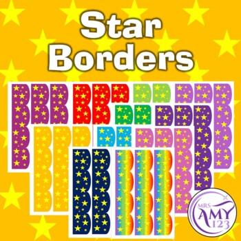 Star Bulletin Borders- Rainbow, Red, Orange, Blue, Green,