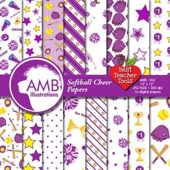 Digital Papers - Purple Cheerleaders, Softball Digital Pap