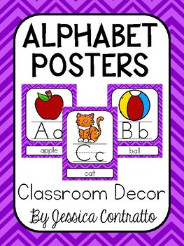 Purple Chevron ABC Posters