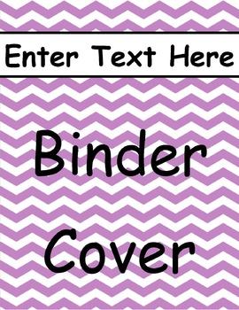 Purple Chevron Binder Cover