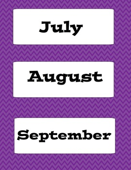 Purple Chevron Calendar Kit