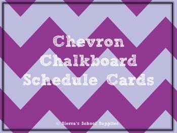 Purple Chevron Chalkboard Schedule Cards