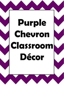 Purple Chevron Classroom Decor