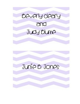 Purple Chevron Genre Book Basket Labels