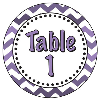 Purple Chevron Themed Table Signs for Tables 1-6