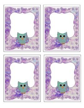 Purple Colorful Owl Labels