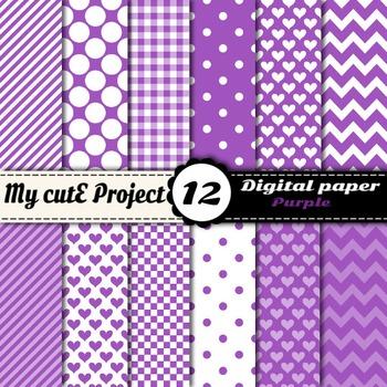"""Purple DIGITAL PAPER - Scrapbooking - A4 & 12x12"""" - Stripe"""