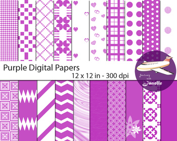 Purple  Digital Papers for Backgrounds, Scrapbooking and C