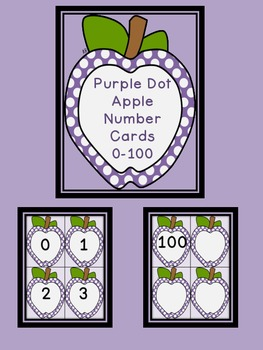 Purple Dot Apple Number Flashcards 0-100